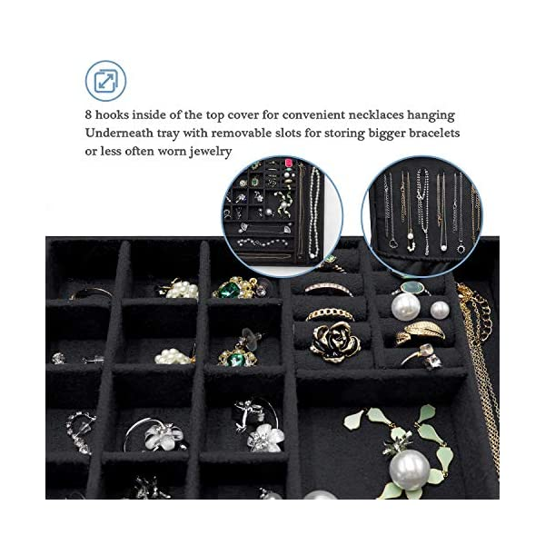 ProCase Jewelry Box Organizer for Women Girls, Two Layer Jewelry Display Storage Holder Case for Necklace Earrings Bracelets Rings Watches 5