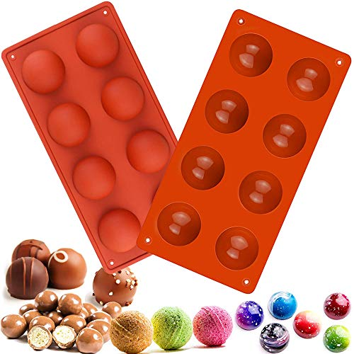 Semi Sphere Silicone Mold, 2 Packs Baking Mold for Making Hot Chocolate Bomb, Cake, Jelly, Dome Mousse (8-Hole)
