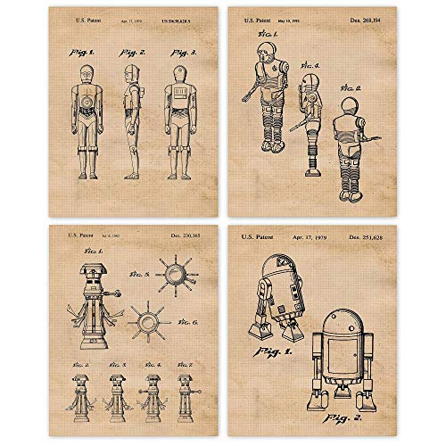 Vintage Star Droids & Robots Patent Poster Prints, Set of 4 (8x10) Unframed Photos, Wall Art Decor Gifts Under 20 for Home, Office, Man Cave, College Student, Teacher, Comic-Con Wars Movies Fan