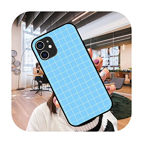 Funda del teléfono para el iPhone 12 11 mini pro max se XS XR X 4 5 6 6S 7 8 más negro cubierta coque 3D hoesjes lujo cubierta Grid-N3-iPhone XS