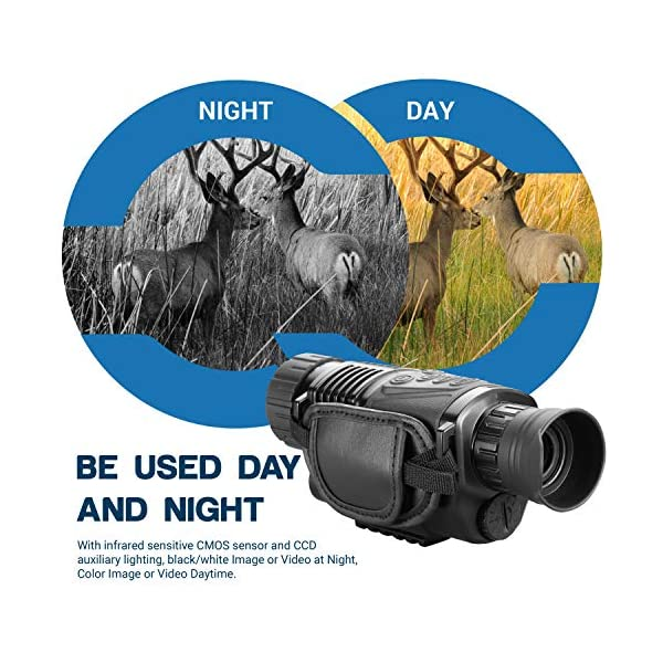ESSLNB Digital Night Vision Monocular 5X40 HD Infrared IR Allows in the Dark-records Images and Video Playback Function with 1.5 inch TFT LCD Screen 8GB TF Card and Bag for Hunting
