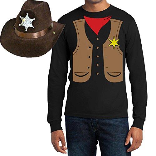 Set Cowboy Sheriff Kostüm T-Shirt + Hut Karneval, JGA, Party Langarm T-Shirt Large Schwarz