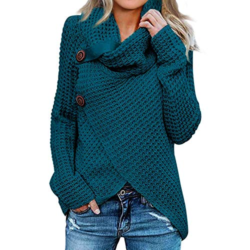 iHENGH Damen Langarm Solid Sweatshirt Pullover Tops Bluse Shirt Strickpullover(A...