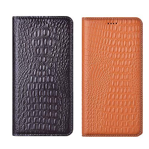 Aveuri Xiaomi Poco F2 Pro Hülle, Krokodil-Textur Handyhülle Premium Echtleder Flip Cover Hülle für Xiaomi PocoPhone F2 Pro Poco Phone F2 Pro mit [Kickstand ] & [Kartensteckplätzen] (Braun)