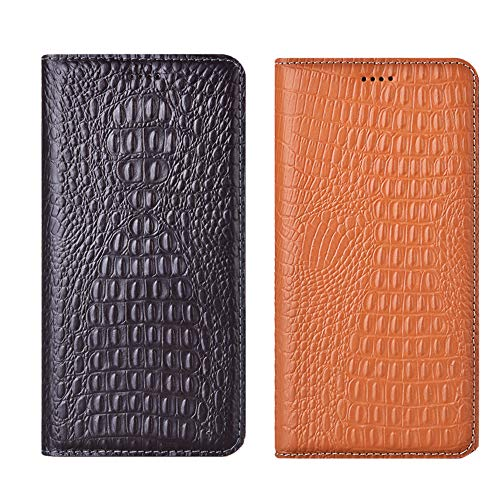 Aveuri Funda para iPhone 5S, de lujo con textura de cocodrilo, de piel auténtica, con tapa para Apple iPhone 5, 5S, SE de 4 pulgadas, con función atril y ranuras para tarjetas, color negro