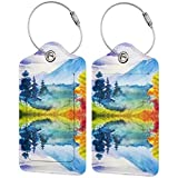 PU Leather Luggage Tag, Suitcase Labels, Beautiful Scenery ID Tags Card, Baggage Bag Label with Stainless Steel Loop, Full Back Privacy Cover for Men Women Travel, Set of 2