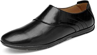 Ranipobo Fashion Oxford Shoes for Men Genuine Leather Summer Breathable Perforated Dress Wedding Loafers Anti-Slip Flat Slip-on for Men (Color : Black, Size : 7.5 UK)