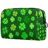 Bolsa de maquillaje personalizada para brochas de maquillaje, bolsa de aseo portátil para mujeres, bolso cosmético, organizador de viaje, diseño de hojas de trébol verde decorativo