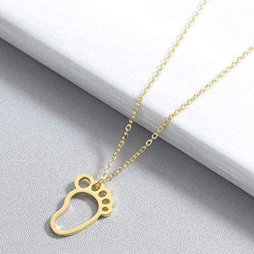 ZGYFJCH Co.,ltd Collar de Moda Lindo bebé pie pies Collar mamá Accesorios de joyería Cadena de Oro Encantador Colgante Collar