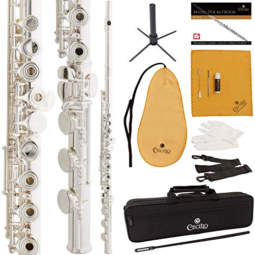 Cecilio Silver Plated Open-Hole Flute with B-Foot