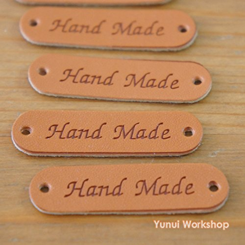 "5pcs / 20pcs: Synthetic PU Leather Label Simple Hand Made Engraved Tag with Holes 0.5"" x 1.75"" (12mm x 45mm) Embellishment Knit DIY (Brown, 5pcs)"