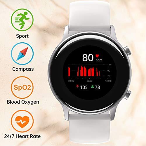 UMIDIGI Urun S Smartwatch Fitness Tracker, wasserdichte Fitnessuhr Smart Watch mit Blutsauerstoff-Monitor(SpO2), Pulsuhr, Schlafmonitor, Schrittzähler, Stoppuhr für Damen und Herren, Gletscher Weiß
