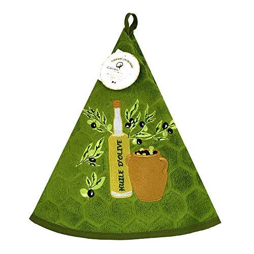 Essuie main rond en éponge Tissage Jacquard huile d'olive vert Qualité Premium