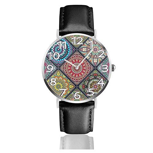 Reloj de Pulsera Patrones étnicos clásicos Correa de Cuero PU Duradera Relojes de Negocios de Cuarzo Reloj de Pulsera Informal Unisex