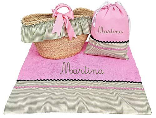 Borda y más Conjunto Capazo mimbre y toalla de playa para niña (Rosa/Verde, 3 piezas PERSONALIZADO)