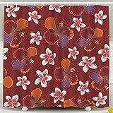 Cortinas de baño, Patrón de Flores de Hibisco Tropical en Colores neutros de Color Rosa Anaranjado Cortina de Ducha Impermeable de Acuarela Cortina de Ducha de Navidad Cortina de Ducha Colorida