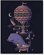 Whale Fantasy Imagination Art Print Beautiful Flying Sea Creature in a Whimsical Balloon Poster Nautical Aviation Home Decor 8 x 10 Inches