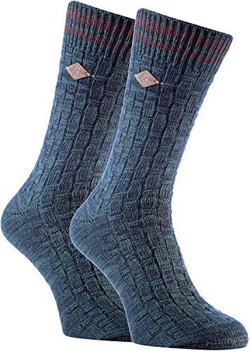 FARAH® - 2er Pack Herren Vintage Qualität Baumwolle Socken mit Gestreift (39/45, 04 Hunter Green)