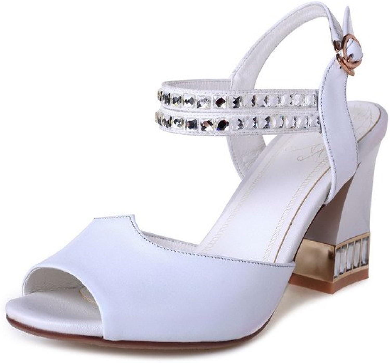 WeenFashion Women's Peep Toe High Heels Solid Buckle Sandals