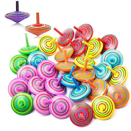 Czemo 30 Piezas Peonzas Madera Colores Juego de Peonzas, Trompo Madera Peonza para Niños, Fiestas de Cumpleaños Regalo