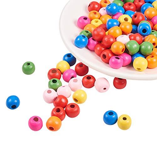 PandaHall- Lot de 100pcs Mixte Perles en Bois Teint Couleurs Melangees 10x9mm, Trou: 3mm
