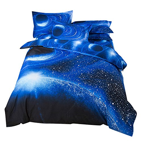 ENET Set of 3 3D Bedding Space Cosmos Star Sky Sets Duvet Pillowcase Cover Bed Sheet