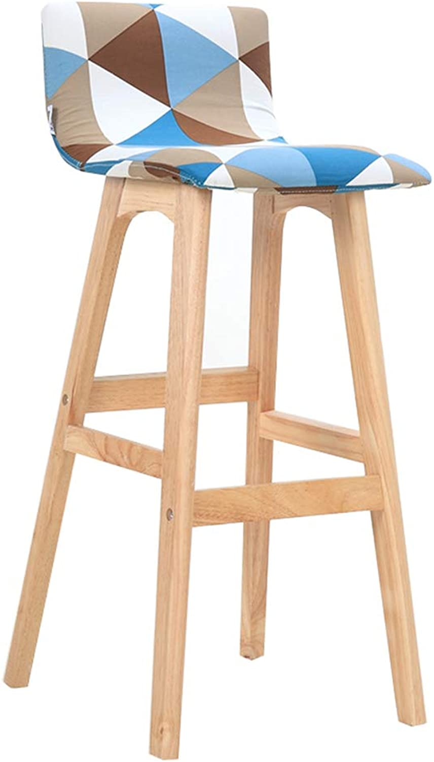 Solid Wood Bar Stool Bar Stool - Backrest High, Original Wood Frame, Rubik's Cube, Cotton Linen, Modern Front Kitchen, Dining Room,