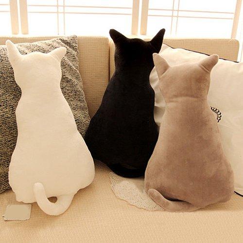 Homeofying Coussin de canapé en peluche douce, forme de chat, Peluche, gris, 45 cm