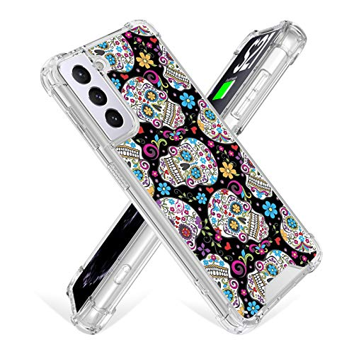 ZIYE Samsung Galaxy S21 Plus Case (2021) 6.7 Inch Clear Sugar Skull Flower Designed Soft Flexible TPU Cover Anti-Collision Scratch Proof Slim Corner Protection Transparent Durable Floral