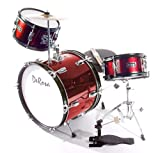 De Rosa DRM316-RD Junior 3-Piece 16-Inch Drum Set with Chair, Red
