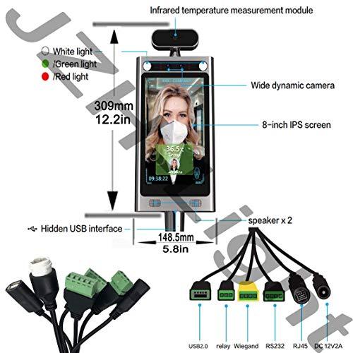 HYLH Riconoscimento facciale Termocamera Rilevatore di Temperatura corporea Controllo accessi Rilevatore di Febbre Senza Contatto Termocamera Termocamera a infrarossi con Allarme vocale