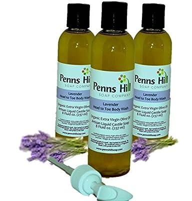 Organic Liquid Extra Virgin Olive Oil Castile Body Wash Three 8 Ounce Bottles