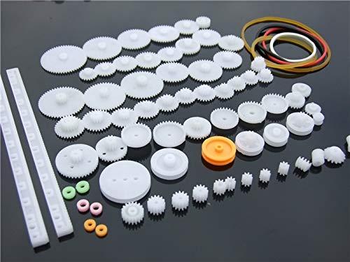 75PCS viel, Kunststoffzahnrad, Zahnstange, Riemenscheibe, Riemen, Schneckengetriebe, Einzel- und Doppelzahnrad, 8-56 Zähne