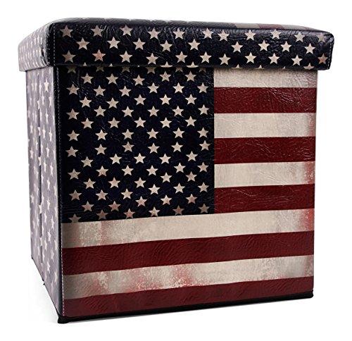 Mediablue Sitzhocker faltbar Sitzwürfel Fußbank Aufbewahrungsbox Motiv USA Stars & Stripes