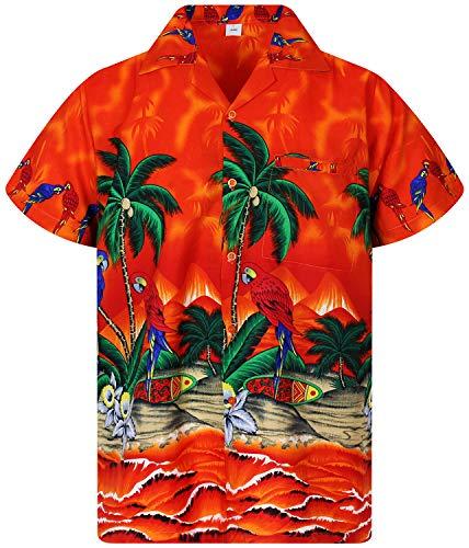 V.H.O. Funky Hawaiihemd, Kurzarm, Papagei, orange, L
