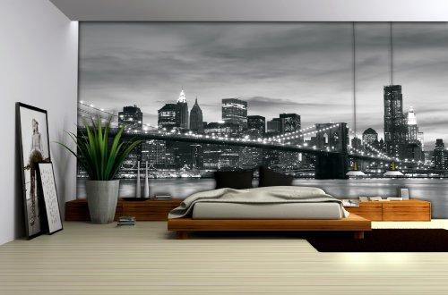 Delester Design Décor mural Papier peint intissé vinyle - vue de New York avec le pont de Brooklyn en noir et blanc