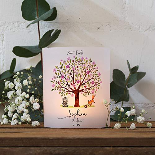 ilka parey wandtattoo-welt Taufkerze Kerze zur Taufe Baum rosa Fuchs Waschbär Wunschname Spruch individualisierbar wk120 - ausgewählte Größe: *6. 2X Lichthüllen (ohne Taufspruch)*
