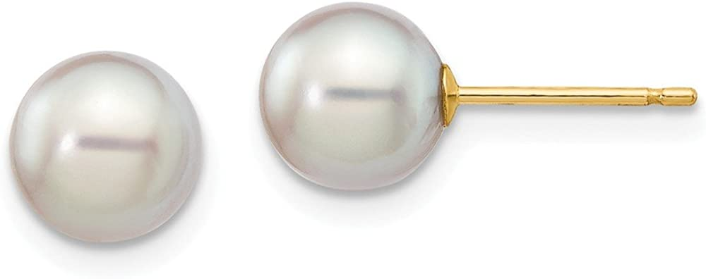 14K Yellow Gold 6-7mm Round Grey Saltwater Akoya Cultured Pearl Stud Earrings