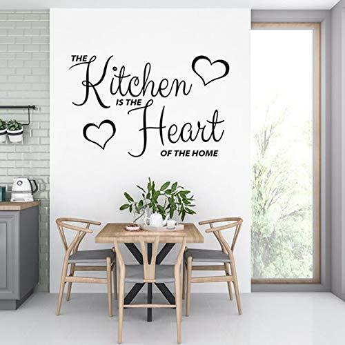 Etiqueta de la pared para la cocina La cocina es el corazón de la ventana de la pared del hogar Decoración del hogar Decoración de la pared del corazón para el hogar A2 42x68cm