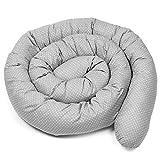 tour de lit bebe 290 cm - contour de lit bébé tour de lit coussin boudin lit bebe serpent contour de lit bébé garçon Gris points blancs