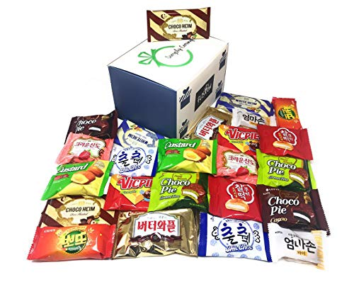 Fusion Select Excellent Korean Snack Box 24 Count Individual Wrapped Essentials Sample Packs of Snacks, Cookies, Treats for Kids, Children, College Students, Adult and Senior treat Asmr Food