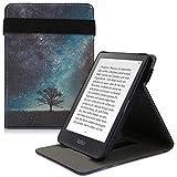 kwmobile Carcasa Compatible con Kobo Clara HD - Funda para e-Book de Cuero sintético - árbol y Estrellas Azul/Gris/Negro