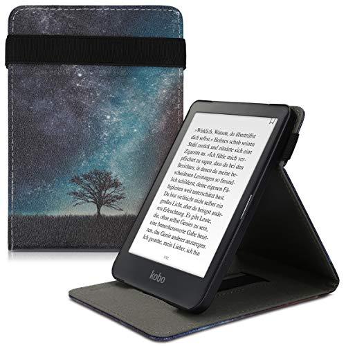 kwmobile Custodia Verticale e-Reader Compatibile con Kobo Clara HD - con Fascia e leggìo - Flip Case in Pelle PU - Natura e Spazio Blu/Grigio/Nero