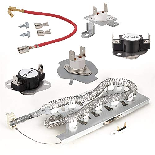 Dryer Heating Element (3387747), Thermostat Kit (279816), Thermal cut-off Fuse Replacement (279973 and 3392519) Compatible with Kenmore, Samsung, Whirlpool, KitchenAid Electric Dryers and More