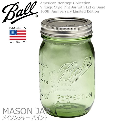 Ball Mason Jar ボール メイソンジャー レギュラーマウス 480ml グリーン Made in USA/ガラスジャー/ヘリテージコレクション/アメリカ雑貨