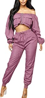 Womens Off The Shoulder Capris High Rise Zip-Up 2 PCS Sexy Sweatsuit Set