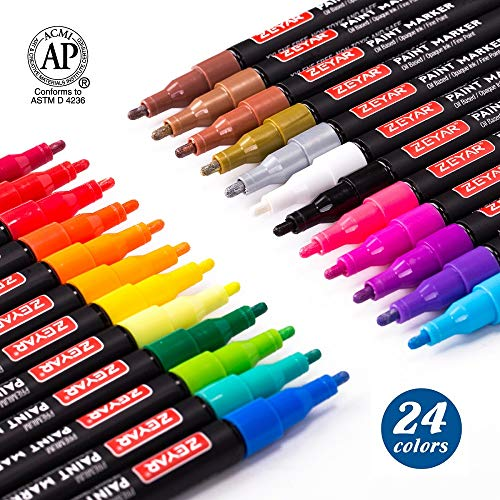 ZEYAR Paint Markers, AP Certified, Expert of rock painting, Fine Point, 24 Colors, Water and Fade Resistant, Oil-based, Great on Wood, Rock, Glass, Canvas and Metal