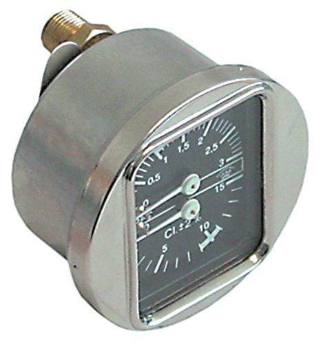 Bezzera manometer voor espressomachine met dubbele schaal, aansluiting aan de achterkant 0-3/0-15 bar aansluiting aan de achterkant ø 63 mm 1/8 inch