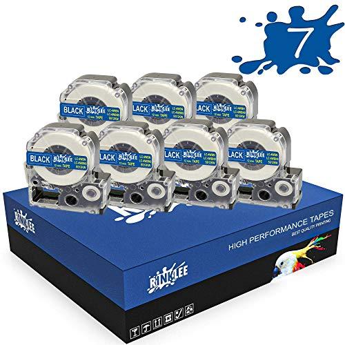 RINKLEE LC-4WBN LC-4WBN9 Schwarz auf Weiß Etiketten Schriftband Kompatibel mit Epson LabelWorks LW-300 LW-400 LW-500 LW-600P LW-700 LW-900P LW-1000P & KingJim Tepra Pro | 12 mm x 8 m | 7 Kassetten