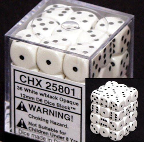 Chessex Opaque 12mm d6 Weiß w schwarz Dice Block 36 Dice by Chessex